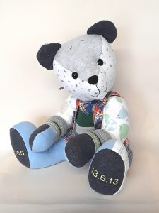 Patchework keepsake bear