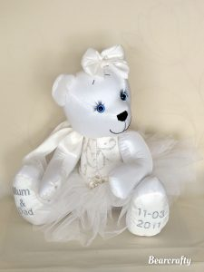Keepsake bear made from wedding gown